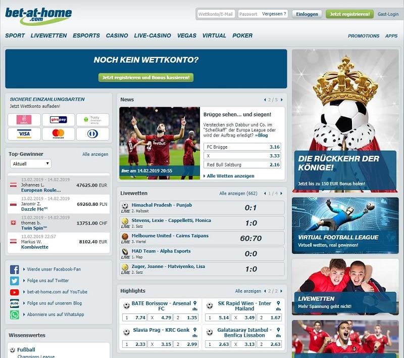Bet-at-home Startseite Design